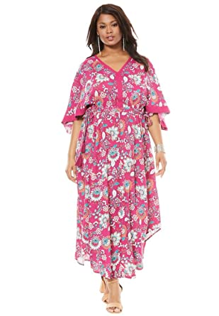 fcd6b2ee11b Roamans Women s Plus Size Tassel Kimono Dress - Raspberry Floral Print