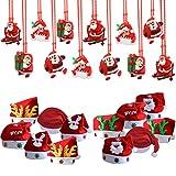 TOAOB 1 Dozen Fancy Santa Claus Hat with 1 Dozen Flashing Light Necklaces For Christmas Holiday