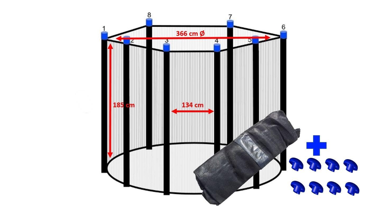 Trampolin Sicherheitsnetz 366 cm Ø für 8 Stangen Ersatznetz Fangnetz