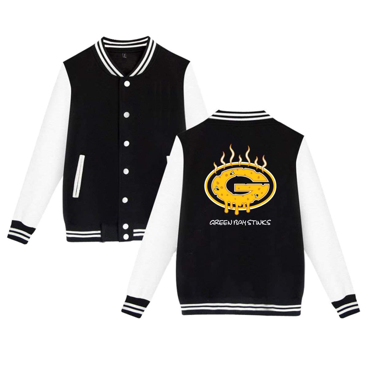 Black Unisex Men's Varsity Baseball Uniform Jacket Packers Parody Sport Coat Winter Sweatshirt Velvet