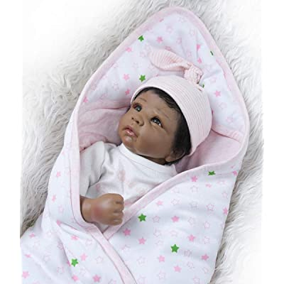 TERABITHIA 20inch 50cm Realistic Reborn Baby Doll in Silicone Vinyl Black African-American Stuffed Cloth Body Newborn Dolls That Look Real and Feel Real Child Xmas Gift: Toys & Games