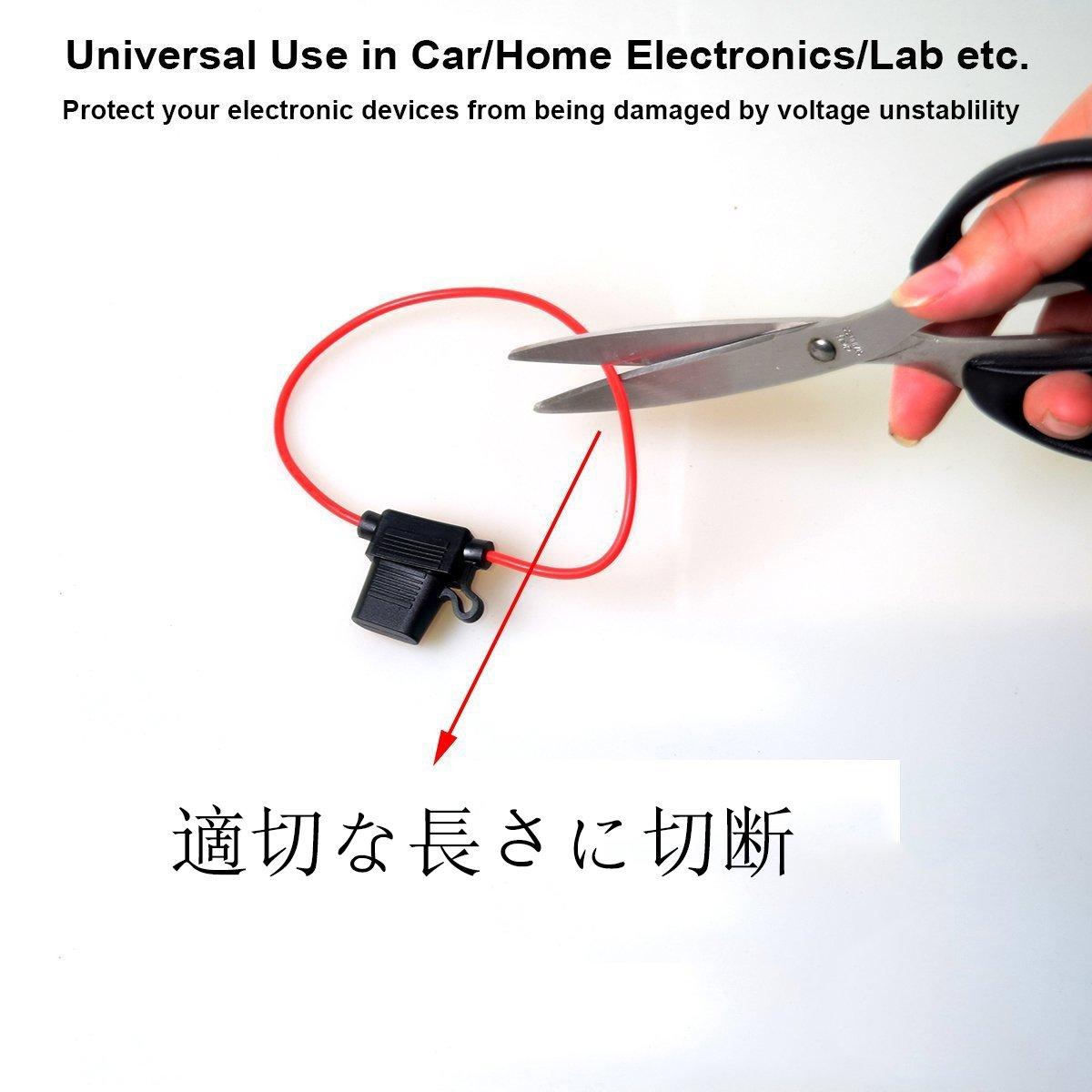 Circuito Blow-out//Protezione sovraccarico 16AWG DC Impermeabile Portafusibili Cocar ATC//ATO Piccola Dimensione Portafusibile Lamellare Cavo In-line per Auto Electronics Modifica Lab solare Sistema
