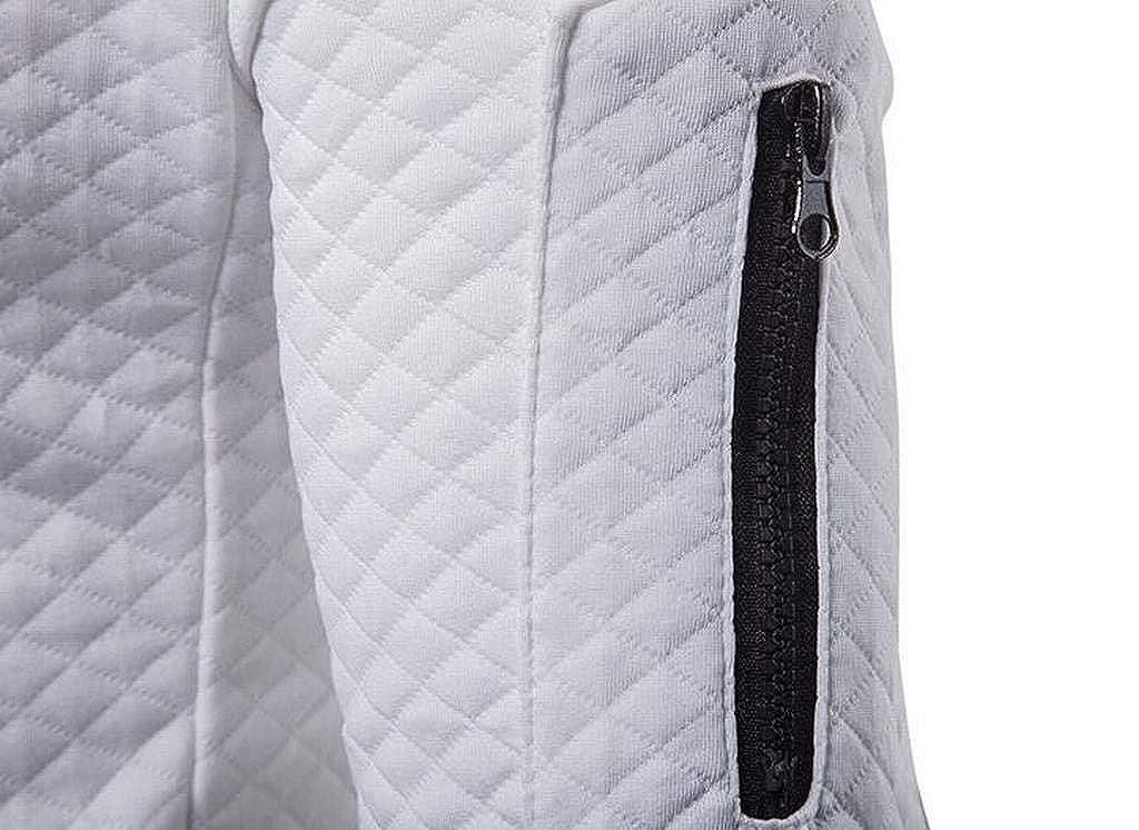 Jofemuho Mens Solid Zip Front Casual Loose Hoodies Hooded Sweatshirt Coat Jacket