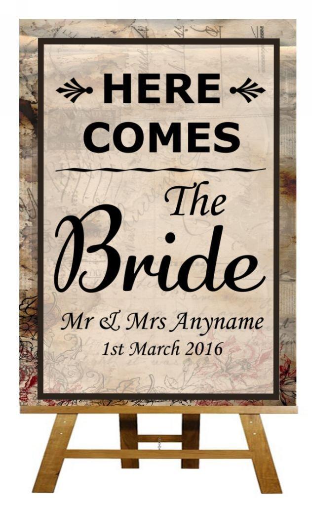 A4 Vintage Chic llega la novia boda cartel: Amazon.es ...