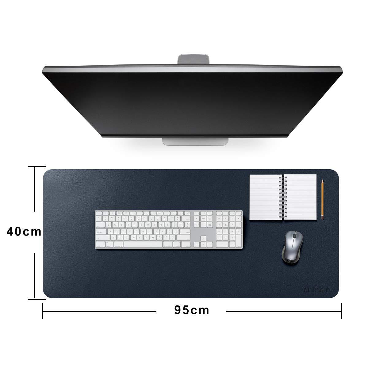 Tappetino per mouse da scrivania per ufficio ultra sottile e impermeabile in pelle PU Chihein 95x40cm doppio uso Grigio//Bianco