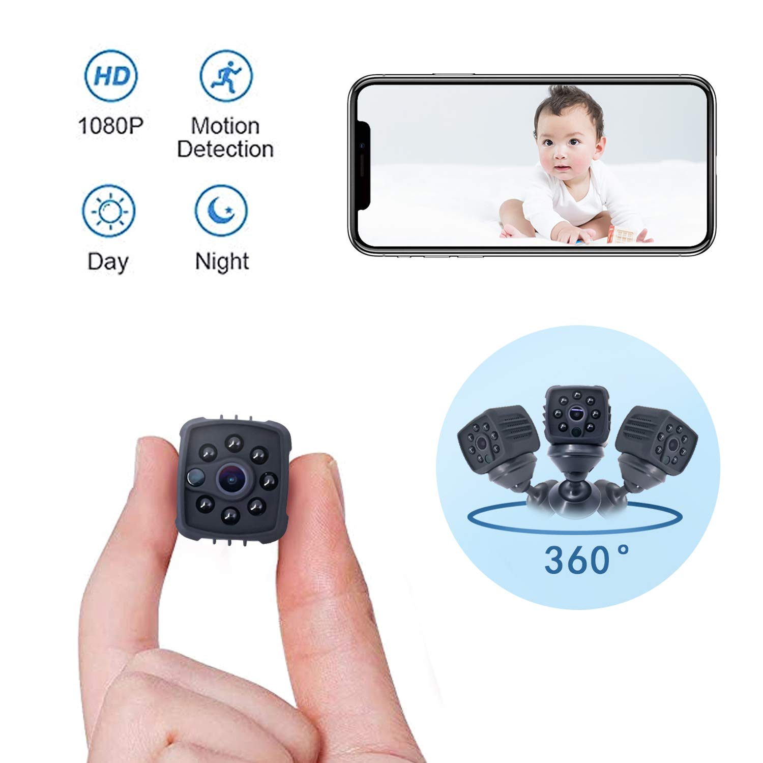 Portable Mini Spy Camera Hidden,1080P Wireless Nanny Camera with Cell Phone App,Night Vision and Motion Detection Remote Monitoring-Security for Pet,Baby,Indoor,Home and Office(Black) by Athors
