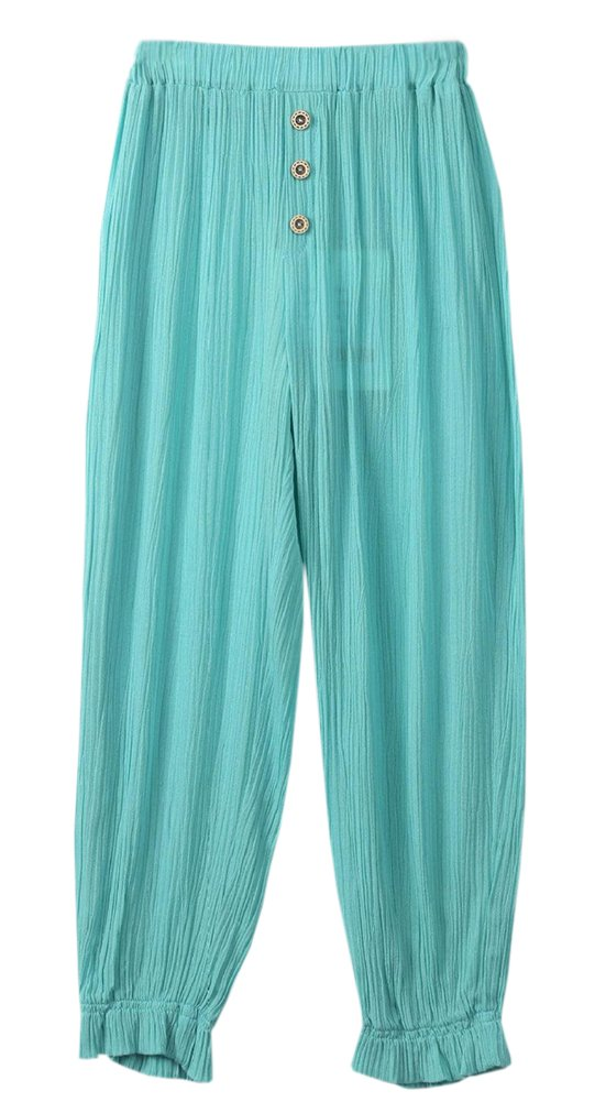BaiX Girls' Loose Summer Cropped Pants Summer Sun Protective Bloomers, 9-11 Years, Green