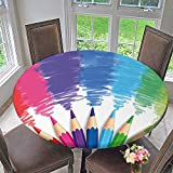 Elasticized Table Cover Welcome Back to School Phrase with Colorful Crayons and Pencils Student Design Multicolor Machine Washable 50''-55'' Round (Elastic Edge)