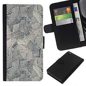 KLONGSHOP // Tirón de la caja Cartera de cuero con ranuras para tarjetas - Pintura Arte Formas Negro Blanco - HTC DESIRE 816 //