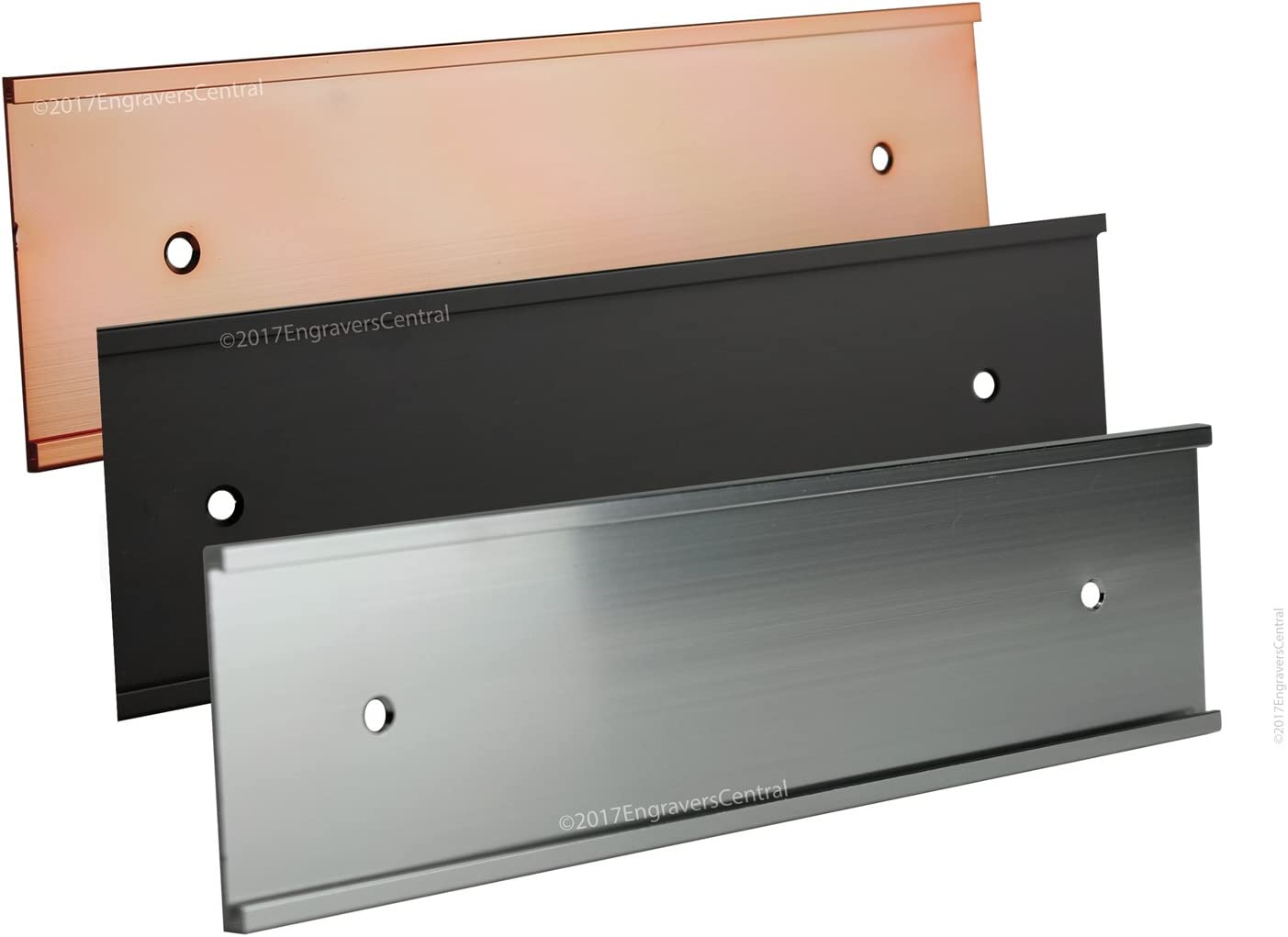 Top Selling 2x12 Office Wall or Door Mount Name Plate Holders - Fits Standard Size 2x12 NamePlates (Not Included), 3 Color Options to Choose from - Gold, Silver or Black.