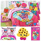 Shopkins Ultimate Kids Bedding Comforter Set with Plush Blanket and Scented Pillow Toy - Full