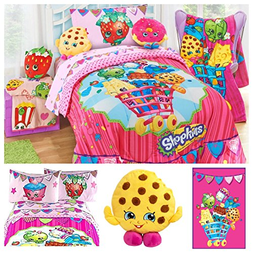 Shopkins Ultimate Kids Bedding Comforter Set with Plush Blanket and Scented Pillow Toy - Full by Moose Shopkins