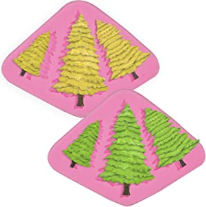 HengKe 2 Piece Pine Moulds Cedar Mold,Christmas Fondant Mold, Silicone Fondant Molds for Chocolates Candy Pudding Making for Fondant, Fimo Clay, Soap, Chocolate, Cake Decoration