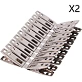 FOMMEN Towel Clips 40 Pack Metal Clothes Pins,Stainless Steel Clothespin Clips for Drying Socks,Hanging Clips,Heavy Duty…