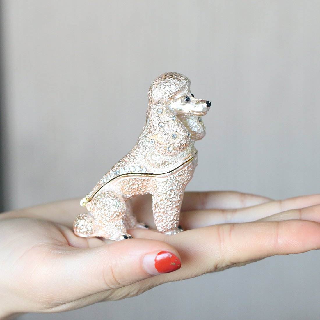 YU FENG Sled Dog Jewelry Trinket Boxes Hinged Animal Collectible Figurine Box Hand Painted Jeweled Trinket Box for Home Decor