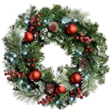Frosted Decorated Pre-Lit Wreath Illuminated with 20 Warm White LED Lights Christmas Decoration - Size 60cm