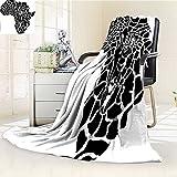 Digital Printing Blanket Safari Of Africa Continent Map As A Skin Wilderness Species Art Print Black White Summer Quilt Comforter