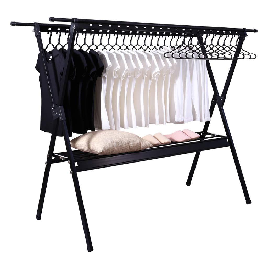 Lovely Doppelstock-Falttrockenständer, Schwarze Doppelstock-Balkon-Kleiderstange