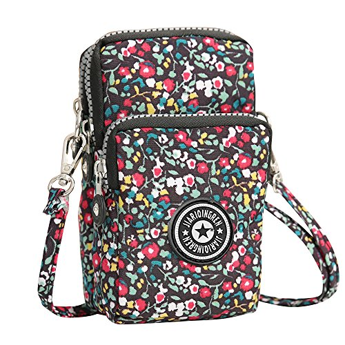 Zipper Wallet Wocharm Purse Cell Crossbody Bag Multifunction Mini Shoulder Flowers Phone UnzZW8n