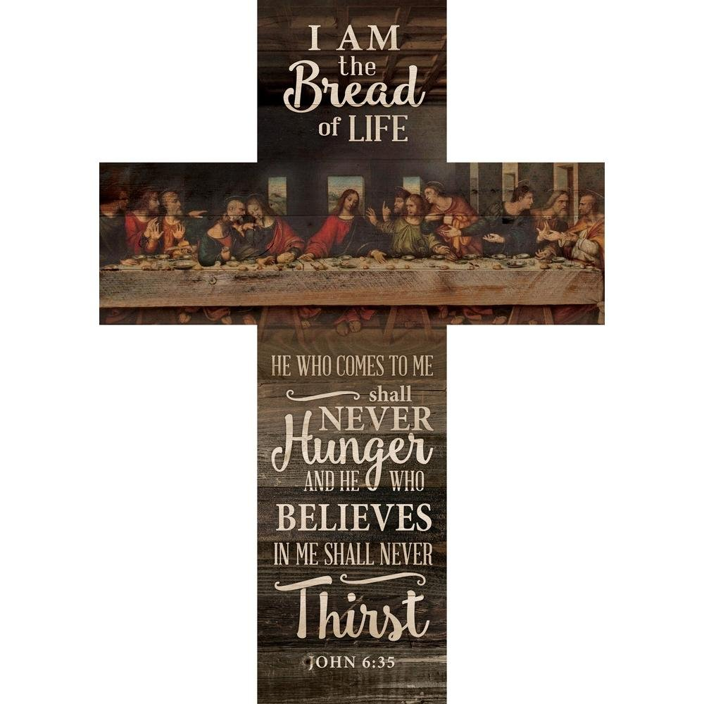 P. Graham Dunn Bread of Life Last Supper Scene Distressed 20 x 14 Wood Wall Art Plaque Cross by P. Graham Dunn