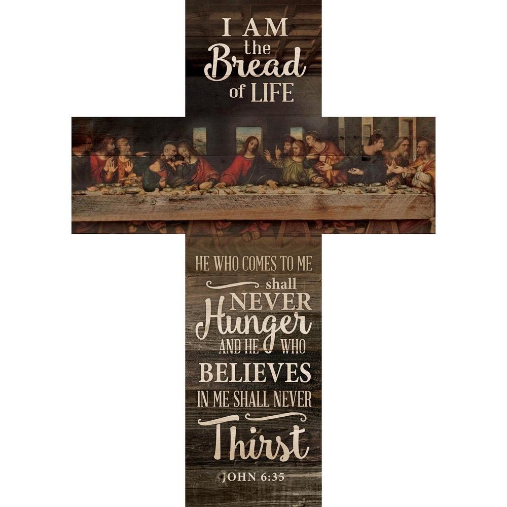 P. Graham Dunn Bread of Life Last Supper Scene Distressed 20 x 14 Wood Wall Art Plaque Cross