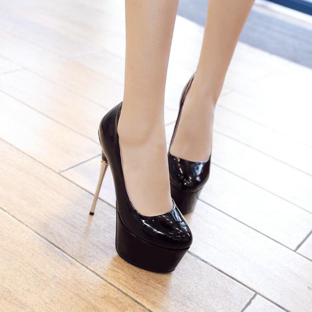 Frauen Frauen Frauen Schuhe 17 cm Dünne Ferse High Heels Wasserdichte Plattform mit Dicken Sohlen Flacher Mund Laufsteg Schuhe Schwarz 0274b8