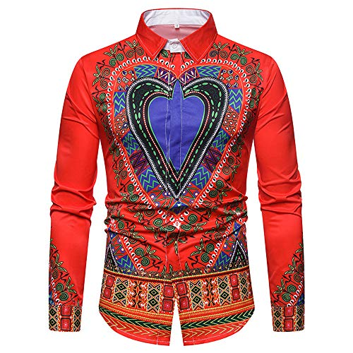 Clearance Top Blouse Men's Luxury African Print O Neck Pullover Short Sleeve T-Shirt (Red, CN M) ()