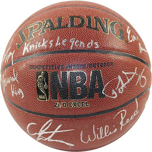 Bernard-KingPatrick-EwingCarmelo-AnthonyWillis-ReedWalt-FrazierEarl-Monroe-Signed-IO-NBA-Brown-Basketball-w-Knicks-Legends-Inscription-Certified-Authentic-Autograph