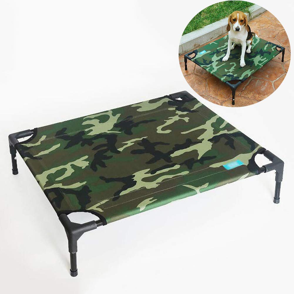 Large Elevated Pet Bed, Portable Outdoor Dog Bed Breathable Mesh Velcro Durable Oxford Cloth Waterproof Breathable Camping or Beach