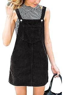 7dc6814c07e Annystore Womens Corduroy Suspender Skirt Mini Bib Overall Pinafore Dress  with Pocket