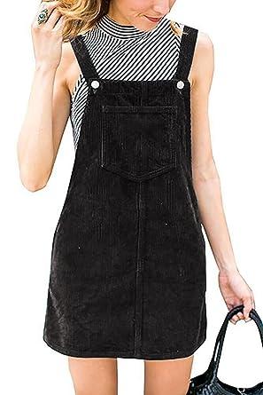 24717495445 Amazon.com  Annystore Womens Corduroy Suspender Skirt Mini Bib Overall  Pinafore Dress with Pocket  Clothing