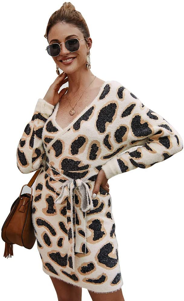 TJZY Women Leopard V-Neck Dress Ladies Long Sleeve Lace Knitted Dress Office Holiday/Apricot/L