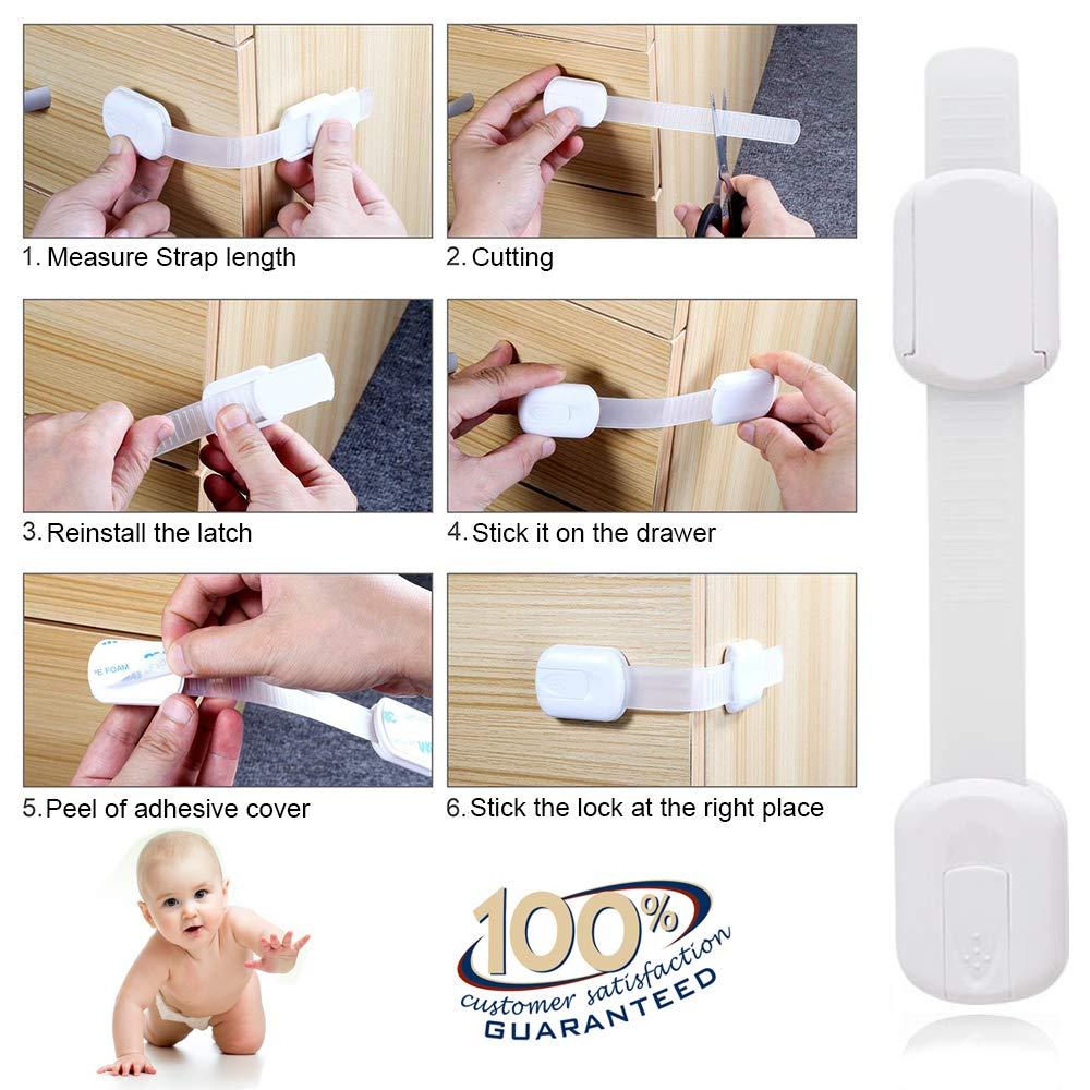 Cerraduras de gabinete de seguridad para niños, 10 piezas Cierres de seguridad a prueba de bebés para gabinetes Horno de cajones, sin dedos atrapados, ...