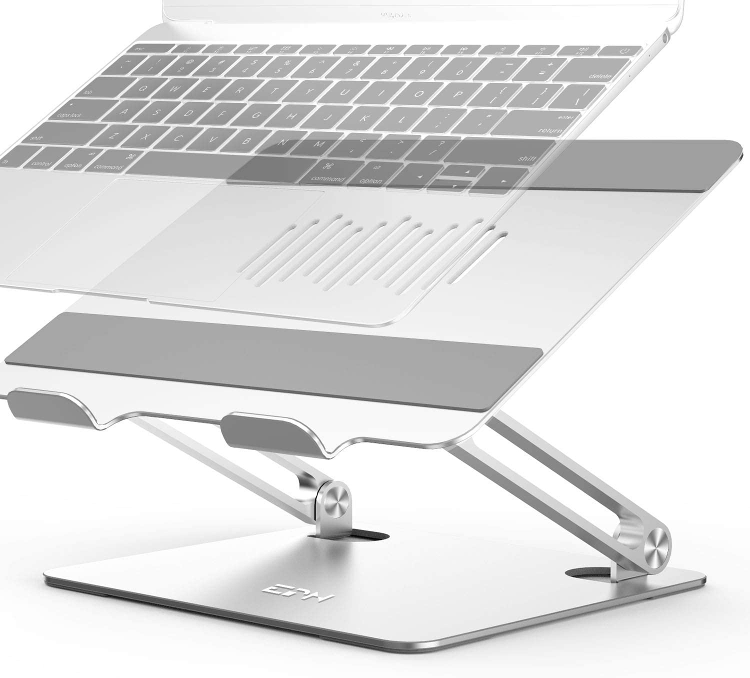 "Laptop Stand, EPN Adjustable Laptop Holder, Multi-Angle Laptop Riser with Heat-Vent to Elevate Laptop, Adjustable Notebook Stand for MacBook Pro/Air, Dell, HP, Lenovo, More 10-16"" Laptops Silver"