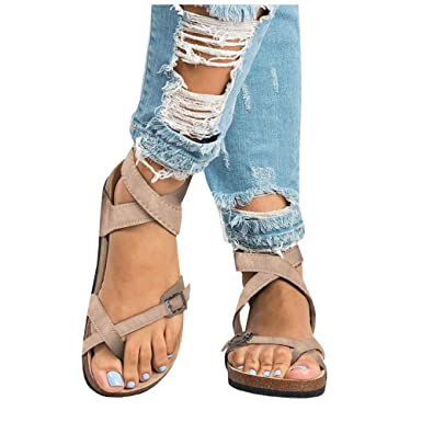 232754b8 Womens Gladiator Strappy Flat Thong Criss Cross Ankle Wrap Summer Beach  Sandals