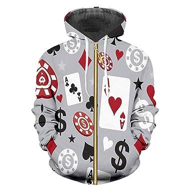 Sudaderas Capucha Hombres/Mujeres Capucha Casual Abrigo Invierno Imprimir Poker 3D Sudaderas Capucha Cremallera Cardigan. Pasa el ratón por ...
