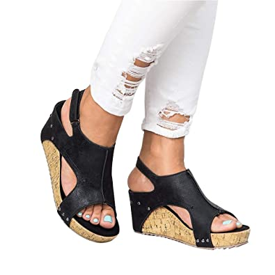 9c779e2808f Athlefit Women s Cutout Belt Wedges Sandals Platform Faux Leather Cork High Heels  Size 5.5 Black