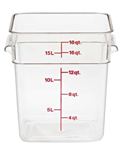 Cambro 18SFSCW135 Camwear Polycarbonate Square Food Storage Container, 18 Quart, Clear