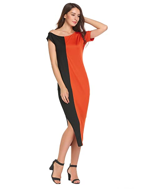 276db71f1f2f Meaneor Women s One Off Shoulder Dress Short Sleeve Color Block Side ...