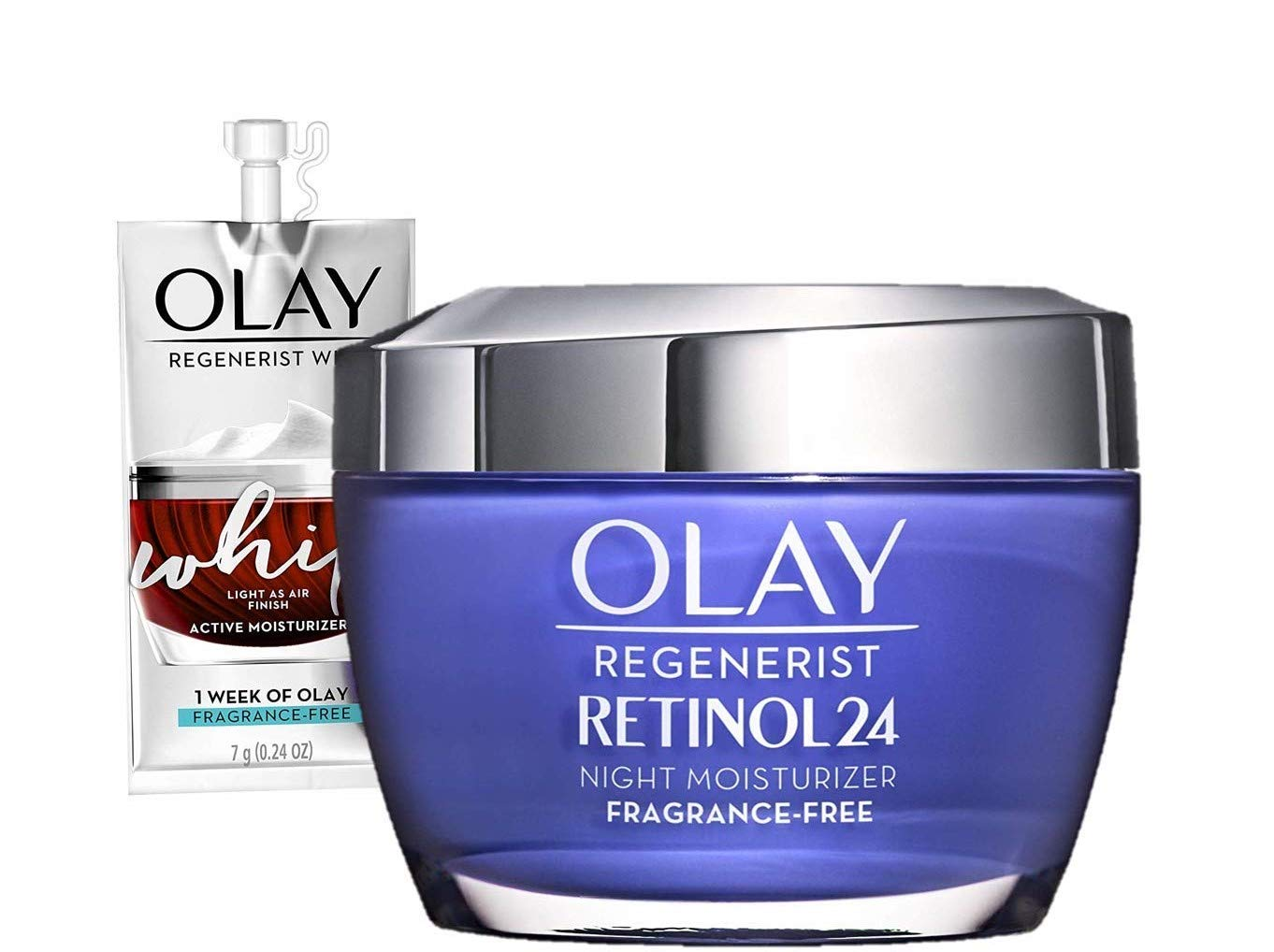 Olay Regenerist Retinol 24 Night Moisturizer Fragrance-Free + Whip Face Moisturizer Travel/Trial Size Gift Set- Buy Online in Pakistan at desertcart.pk. ProductId : 159359017.