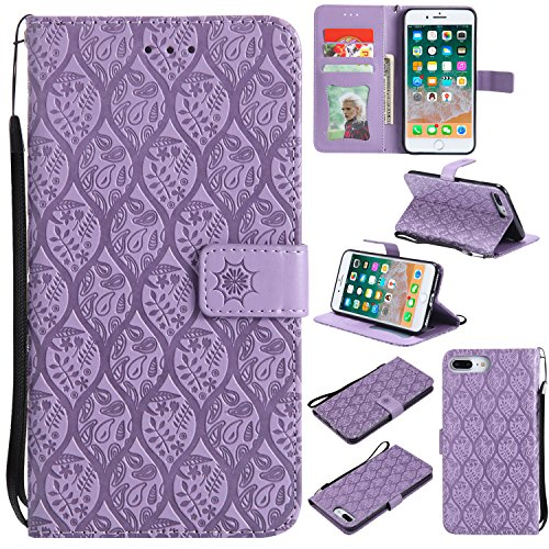 Flower Power Leather - HAOTP iPhone 8 Plus Wallet Case,iPhone 7 Plus Flower Case, Flip Case Wallet Leather Emboss Mandala Rattan Flower Magnetic Protective Purse Cover with Card Slots for iPhone 7 Plus / 8 Plus Purple