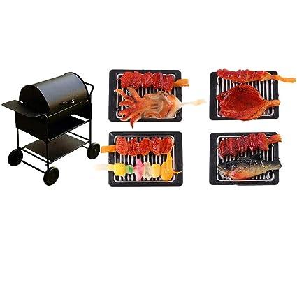 1//12 Dollhouse Miniature Outdoor Square Barbecue BBQ Grill Oven Decoration