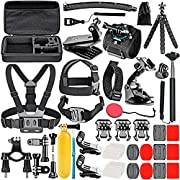 #LightningDeal Neewer 50-In-1 Action Camera Accessory Kit Compatible with GoPro Hero 9 8 Max 7 6 5 4 Black GoPro 2018 Session Fusion Silver White Insta360 DJI AKASO APEMAN Campark SJCAM Action Camera