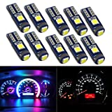 HSUN T5 74 73 2723 2721 W3W Wedge LED Bulb,3LED SMD3030 Chip 600LM Extremely Bright Car Auto Dashboard Instrument Reading Gauge Panel Light,10 Pack,6000K White
