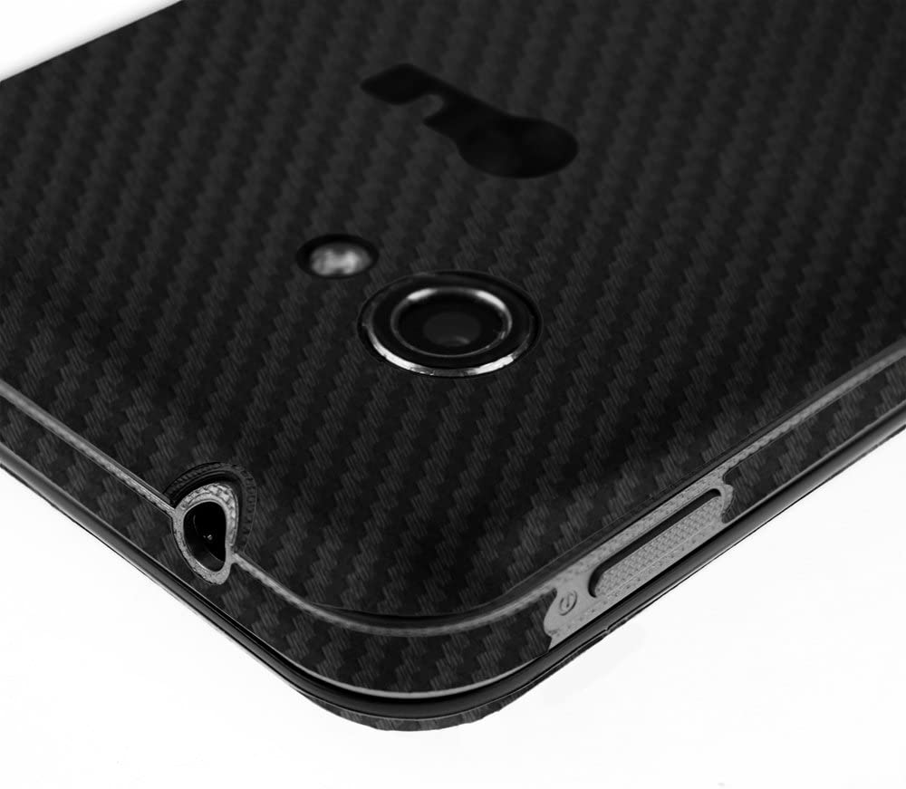 Skinomi Black Carbon Fiber Full Body Skin Compatible with LG Enact VS890 Full Coverage TechSkin with Anti-Bubble Clear Film Screen Protector
