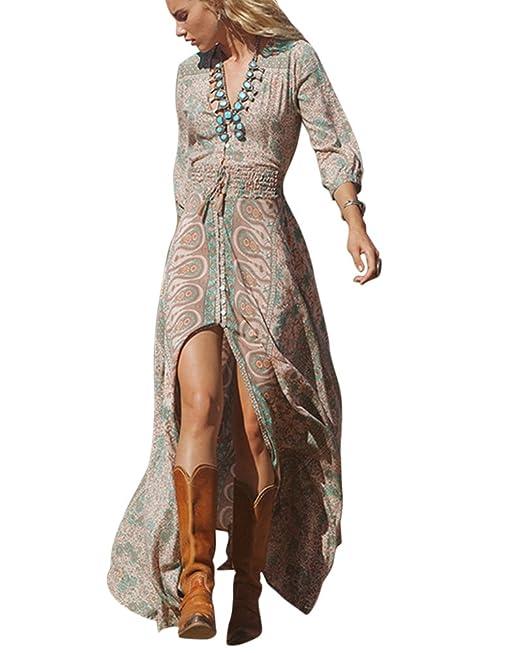 63c9758b2c Aberturas Boho Vestido Largo De Manga Larga De Patron De Flor Moda Casual  para Mujeres  Amazon.es  Ropa y accesorios