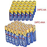 24 Pack AA + 24 Pack AAA 1.5V Extra Heavy Duty Batteries (48 Combo Pack)