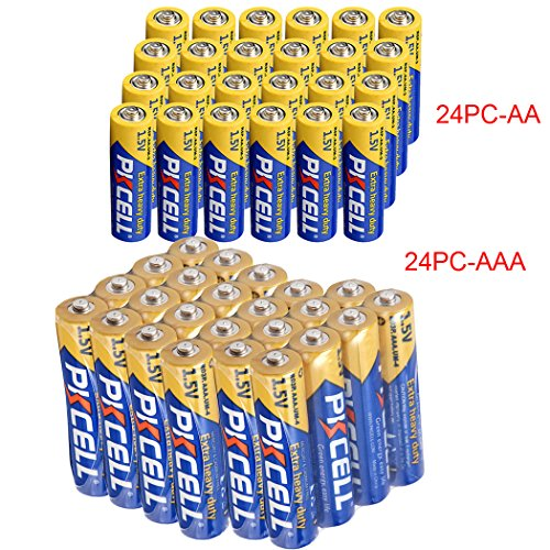 Heavy Duty Aaa Cell - 24 Pack AA + 24 Pack AAA 1.5V Extra Heavy Duty Batteries (48 Combo Pack)