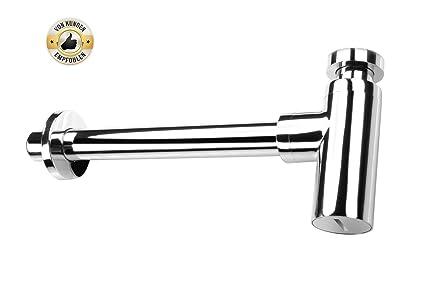 Auralum Sifón de lavabo de acero inoxidable (sin válvula ...