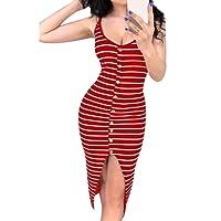 Shujin Damen Sommer Clubwear Spaghetti Trägerkleid mit Knopf Vorne Schlitz Sexy Eng Partykleid Figurbetont Bodycon Maxi Wrap Kleid